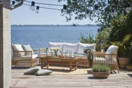 Outdoor couch near ocean