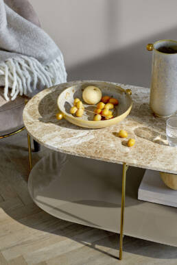 designer coffee table in marble