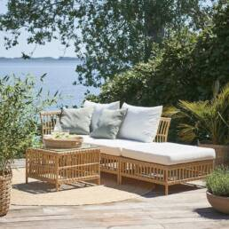 Outdoor side table next to daybed